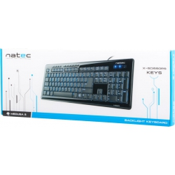 NATEC MEDUSA 2 BACKLIGHT BLACK US LAYOUT - 3 kolory podświetlenia
